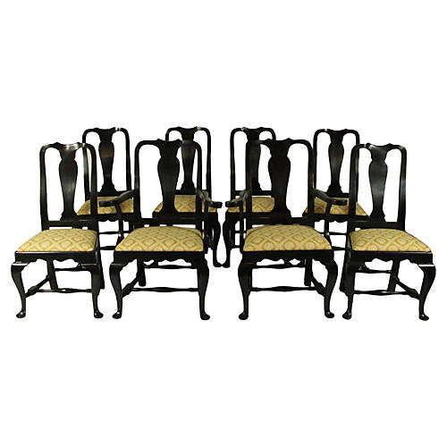 Black Lacquer Queen Anne Chairs, S/8