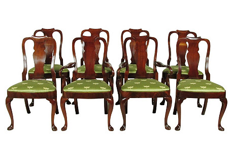 Queen  Anne-Style Dining Chairs, S/8