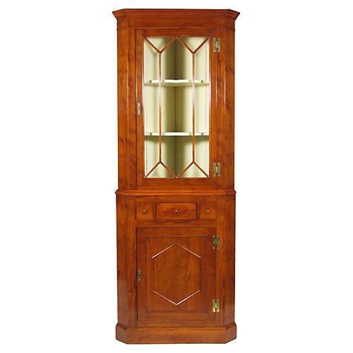 English Yew Corner Cabinet