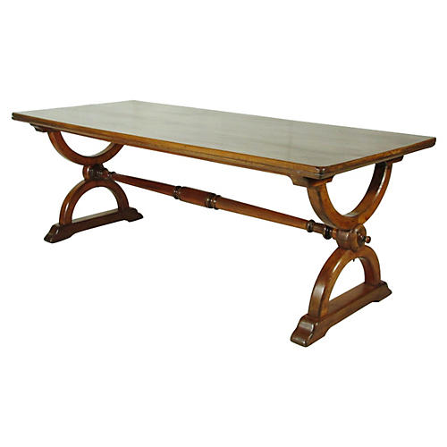 19th-C. English Trestle Table