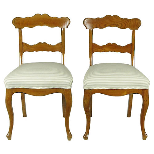 19th-C. Biedermeier Side Chairs, Pair