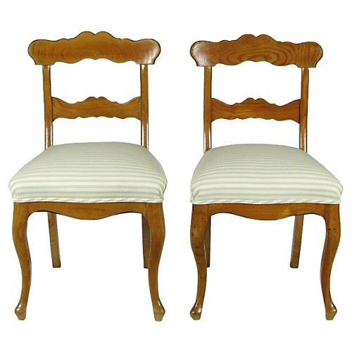 19th-C. Biedermeier Side Chairs, Pair
