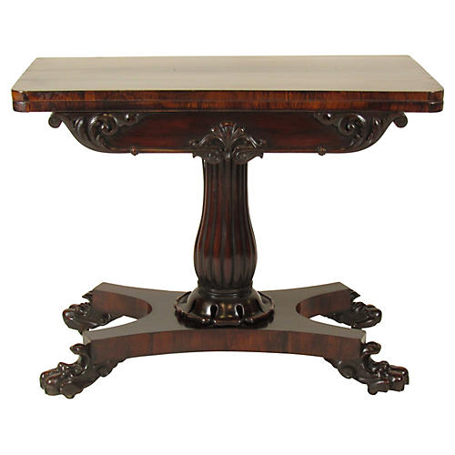 19th-C. William IV Rosewood Card Table