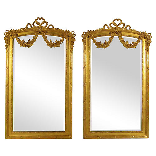 Neoclassical Gilt Mirrors, Pair