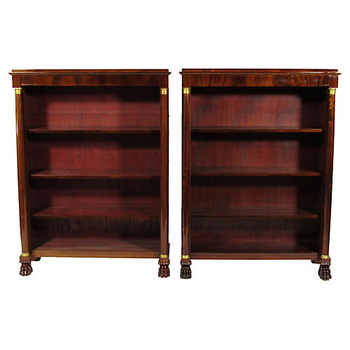 French Empire-Style Bookcases, Pair
