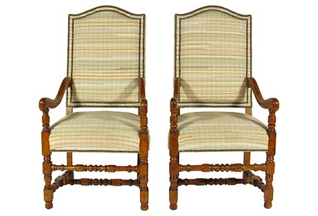 French Baroque-Style Armchairs, Pair