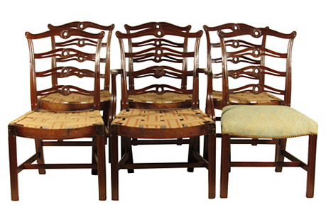 Chippendale Dining Chairs, S/6
