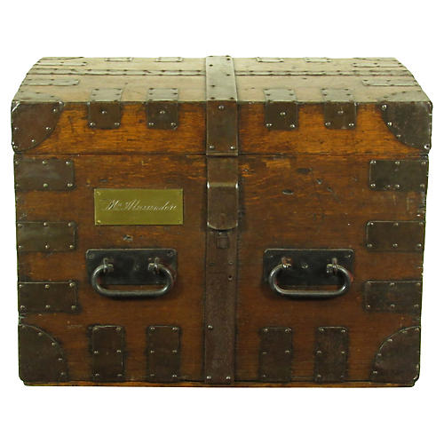 19th-C. English Iron-Bound Oak Chest