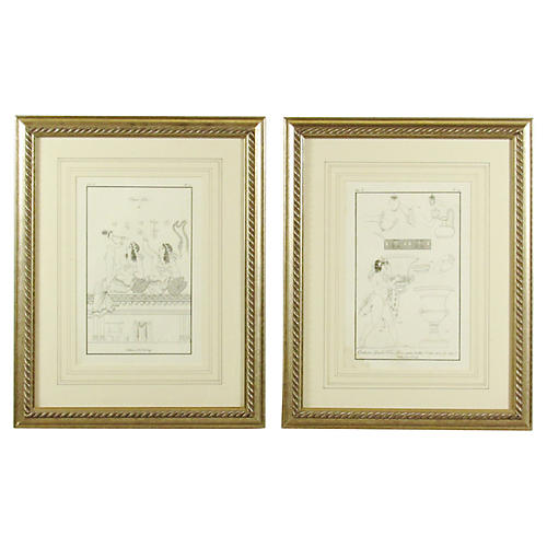 18th-C. Willemin Engravings, Pair