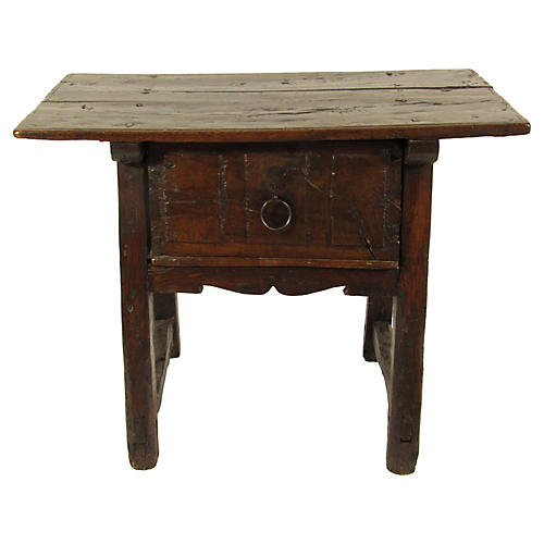 17th-C. Spanish 1-Drawer Side Table