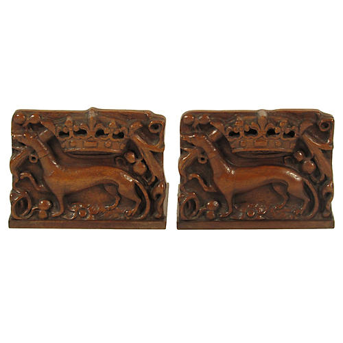19th-C. English Dog Bookends, Pair