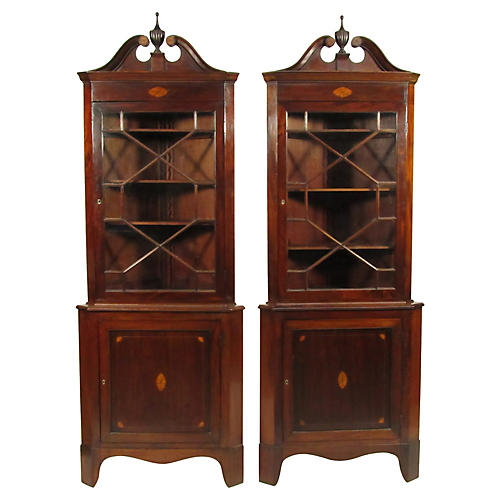 Federal-Style Corner Cabinets, Pair
