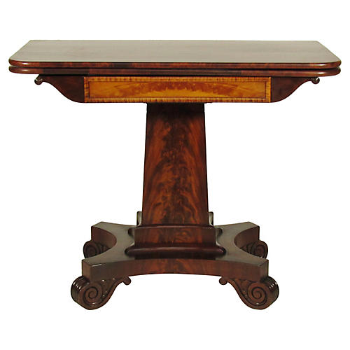 19th-C. Amrerican Classical Card Table