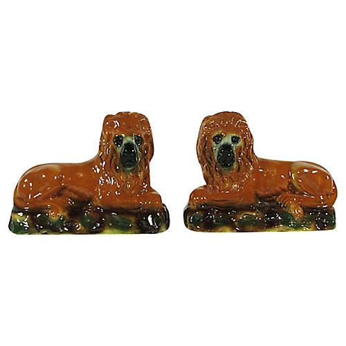 19th-C. English Mantel Lions, Pair