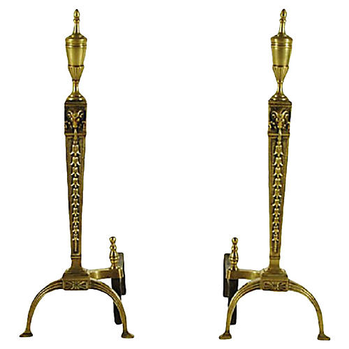 19th-C. French Andirons, Pair