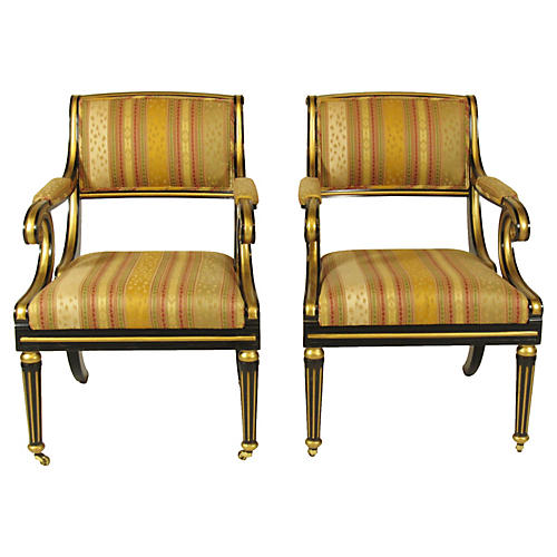 Regency-Style Armchairs by Baker, Pair
