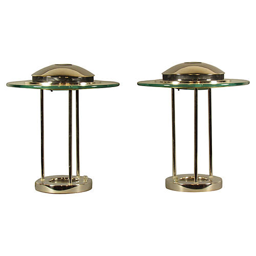 Midcentury Saturn Lamps, Pair