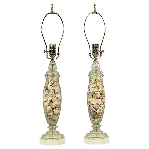Seashell Lamps, Pair