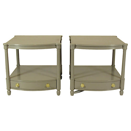 Baker Mid-Century Lacquer Tables, Pair