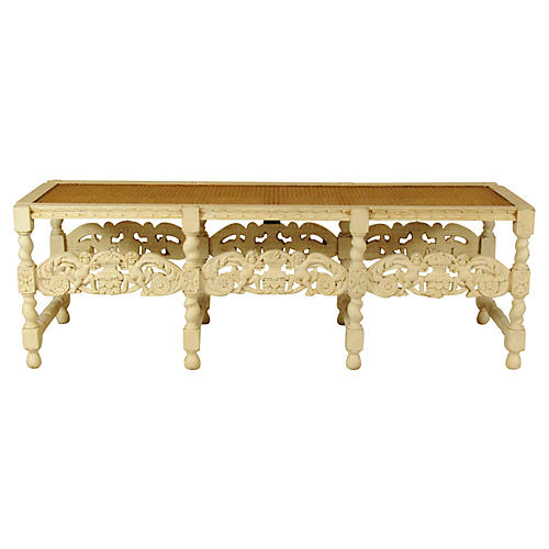 Late 19th-C. Italian Carved Bench