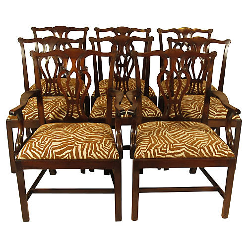 19th-C. Chippendale Dining Chairs, S/8