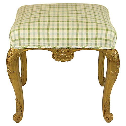 19th-C. French Gilt Bench Seat
