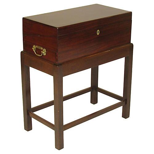 19th-C. English Lap Desk on Custom Stand