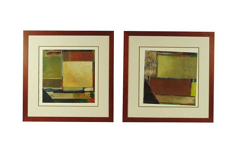 Contemporary Abstract Paintings, Pair