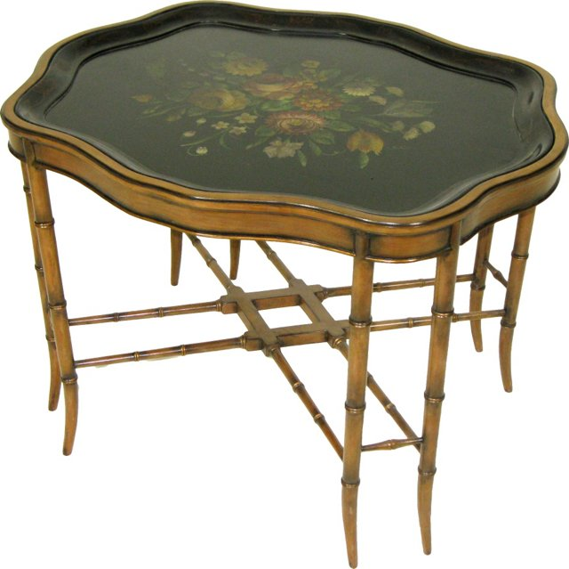 19th-C. Painted Tray on Custom Stand