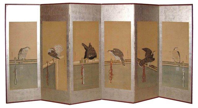 19th-C. Japanese Silver Hawk Screen