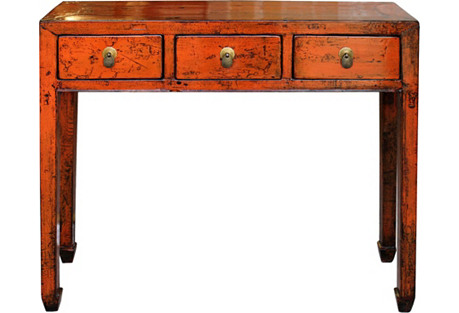 Orange Shandong Console Table