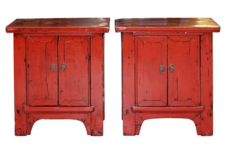 Small Red Chests, Pair