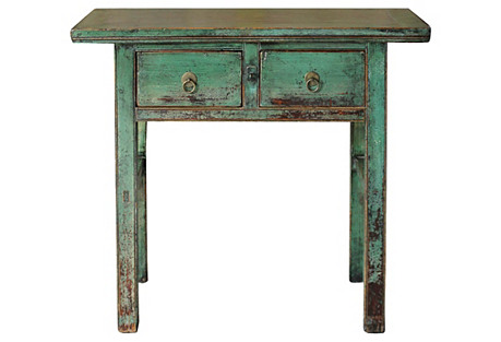 2-Drawer Green Console Table