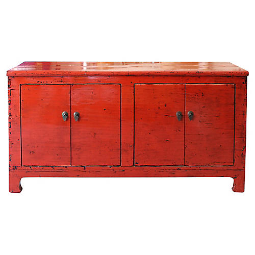 Red Lacquer 4-Door Sideboard