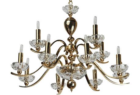 Stunning 12-Arm Brass Chandelier