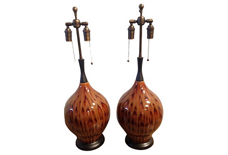 Glazed Peacock-Style Lamps, Pair