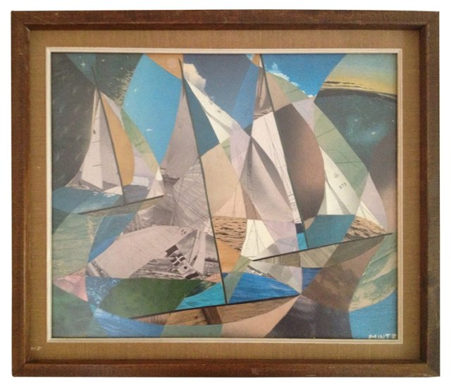 Abstract Sailboat Collage