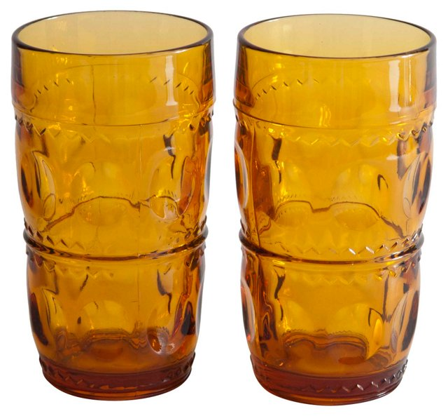 Amber Old Fashioned Tumblers, Pair