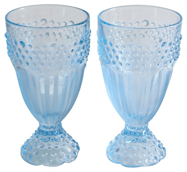 Blue Hobnail Iced Tea Glasses, Pair