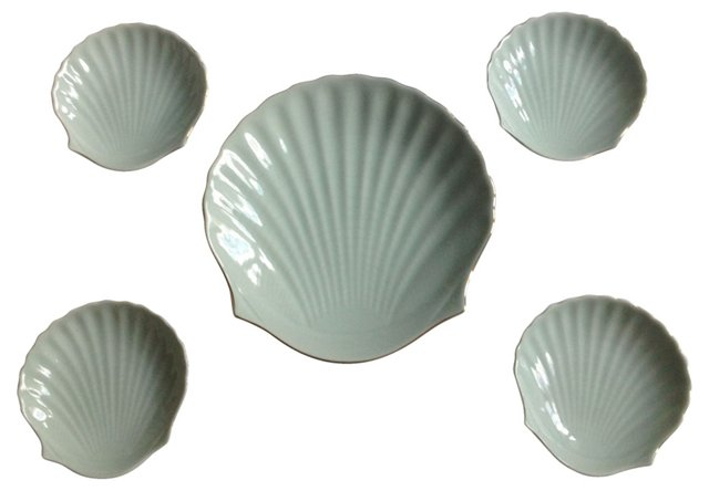 Shell Platter w/ 4 Canapé Plates