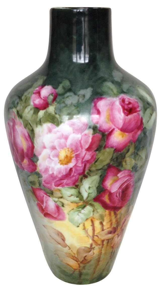D&C Limoges Hand-Painted Vase, Signed