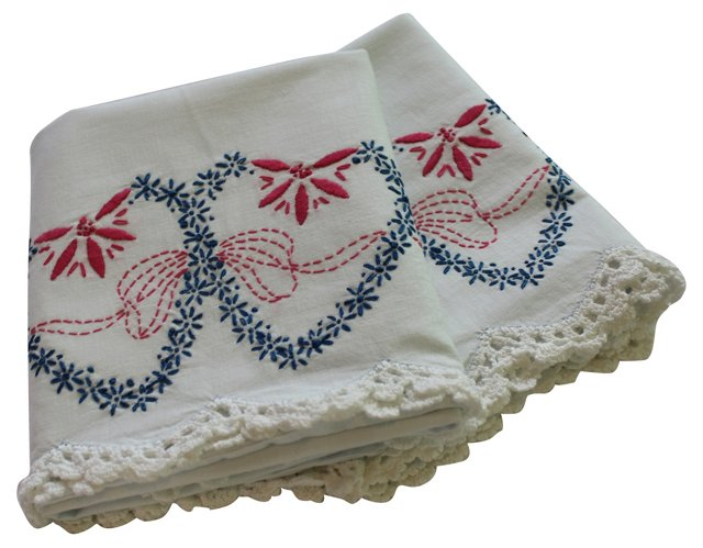Two Hearts Embroidery Pillowcases, Pair