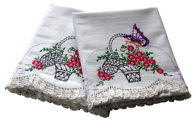 Flower Basket Pillowcases, Pair