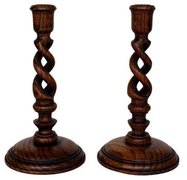 Handmade Wood Candlesticks, Pair
