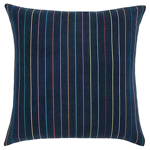 Indigo Rainbow Stripe Pillow