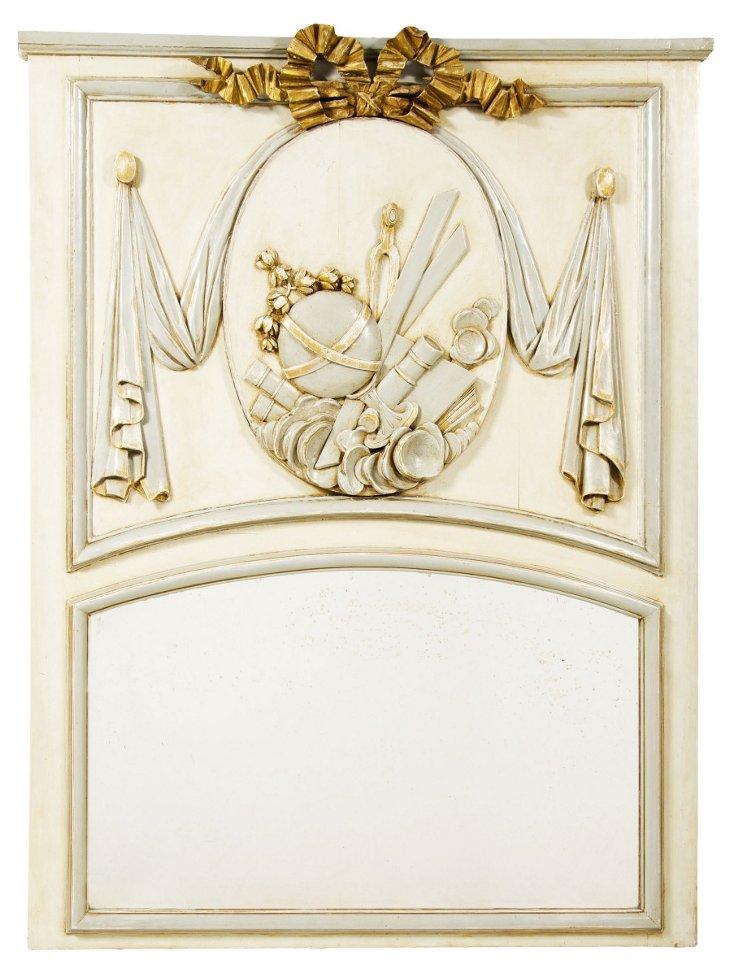 White & Giltwood Trumeau Mirror