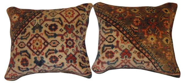Pillows w/ Persian   Rug, Pair