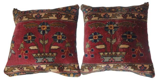 Pillows w/ Antique Agra Rug, Pair