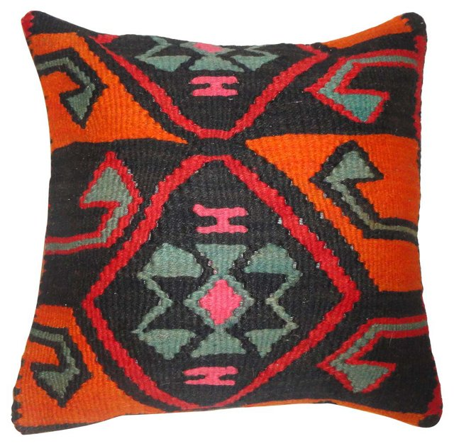 Black & Orange    Kilim Pillow