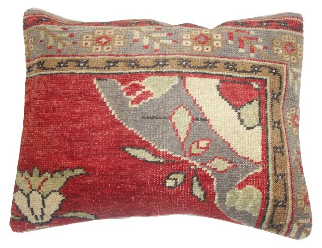 Red Oushak   Fragment  Pillow